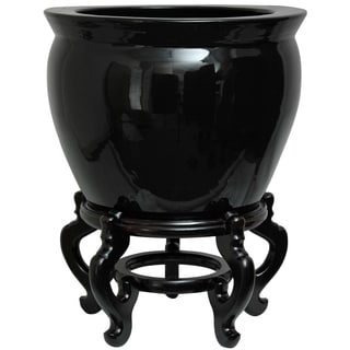 Handmade Porcelain 12-inch Solid Black Fishbowl (China)