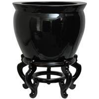 Porcelain 14-inch Solid Black Fishbowl (China)