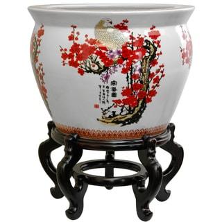 Porcelain 14-inch Cherry Blossom Fishbowl (China)