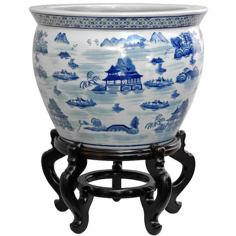 """Handmade Porcelain 14-inch Blue and White Landscape Fishbowl (China) - 14""""W x 14""""D x 10.75""""H"""