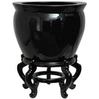 Handmade Porcelain 16-inch Solid Black Fishbowl (China)
