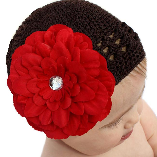 Headbandz Crocheted Baby/ Toddler Brown Kufi Hat and Red Flower Clip