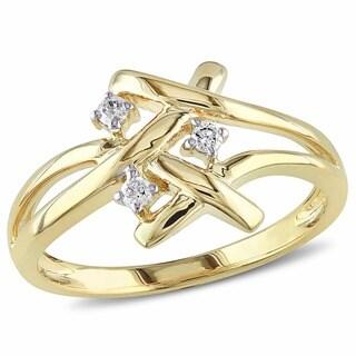 Miadora 10k Yellow Gold 1/10ct TDW Diamond Ring (G-H, I2-I3)