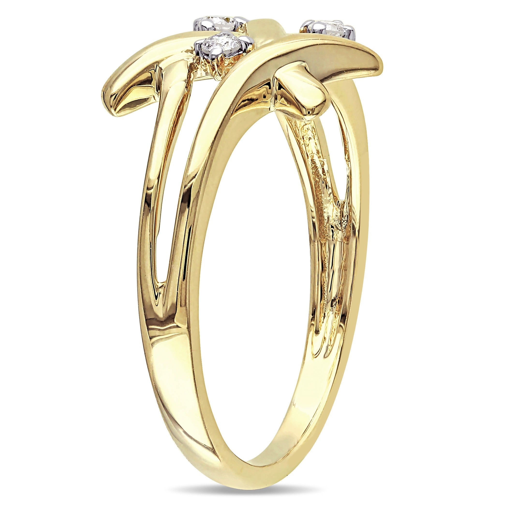 3 Diamond Promise Ring in 10K Yellow Gold 1//10 cttw, G-H,I2-I3 Size-10