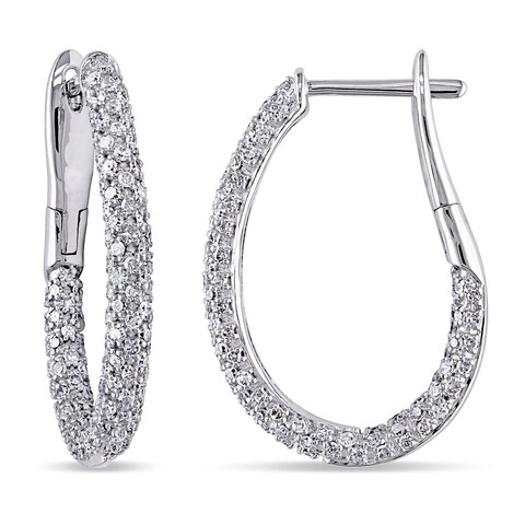 Miadora Signature Collection 14k White Gold 1ct TDW Diamond Slender Hoop Earrings
