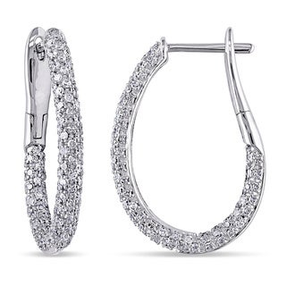 Miadora Signature Collection 14k White Gold 1ct TDW Diamond Slender Hoop Earrings (G-H,I2-I3)