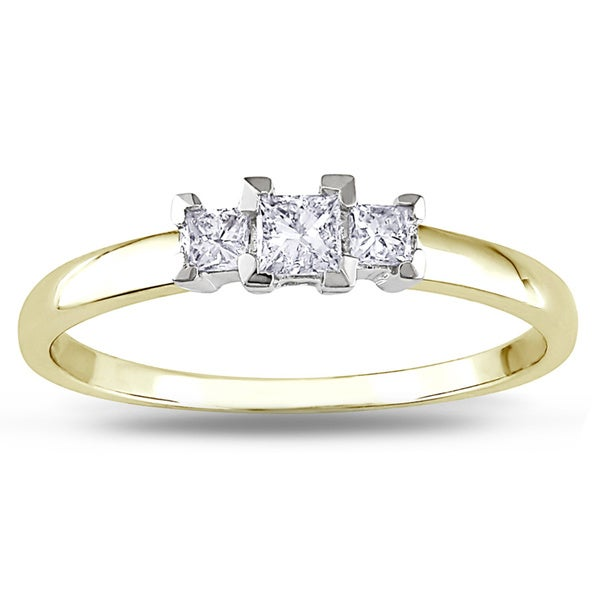 Miadora 10k Gold 1/4ct TDW Three Stone Diamond Ring