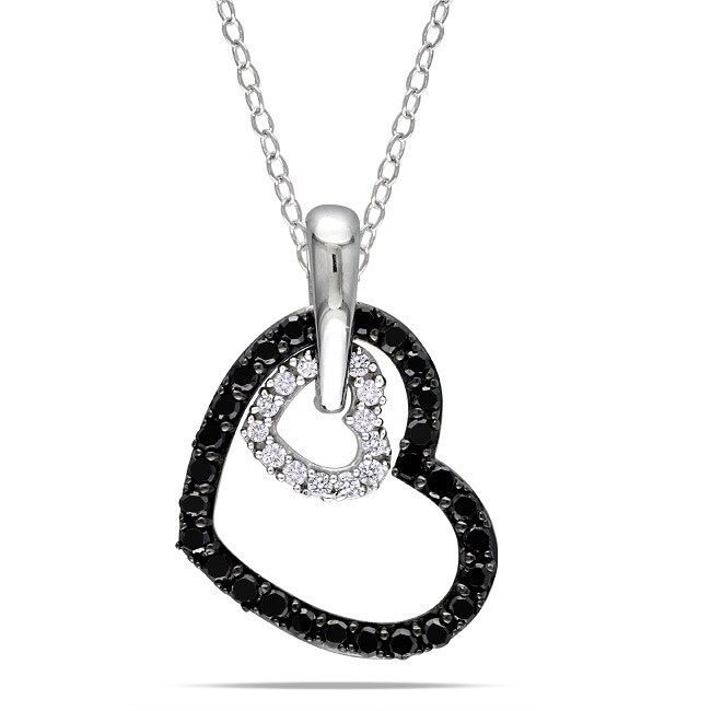 Miadora Sterling Silver 1/3ct TDW Diamond Heart Necklace