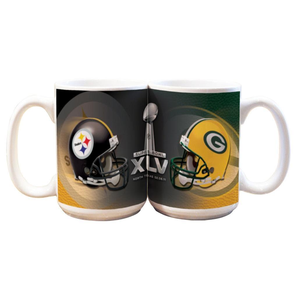Super Bowl XLV 15-oz Dueling Helmets Ceramic Mug