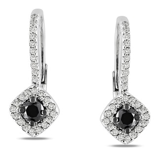 Miadora Sterling Silver 1/2ct TDW Black and White Diamond Leverback Halo Earrings