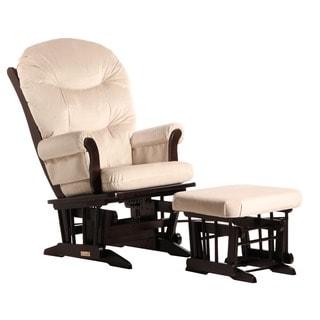 Dutailier Beige Microfiber Sleigh Glider Chair/ Ottoman