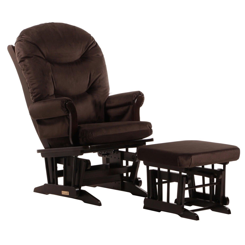Dutailier Brown Microfiber Sleigh Glider Chair Ottoman