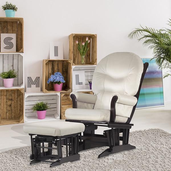 Dutailier Beige Microfiber Espresso Finished Glider Chair Ottoman Set