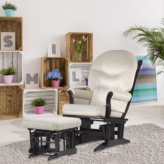 Dutailier Beige Microfiber Espresso-Finished Glider Chair/Ottoman Set
