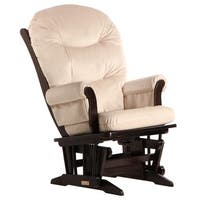 Dutailier Espresso Wood Glider with Beige Upholstery