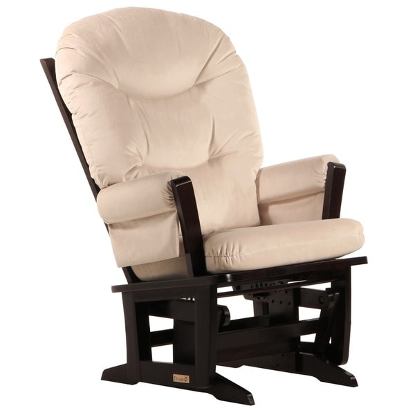 Dutailier Espresso Wood Glider with Microfiber-Fabric Upholstery