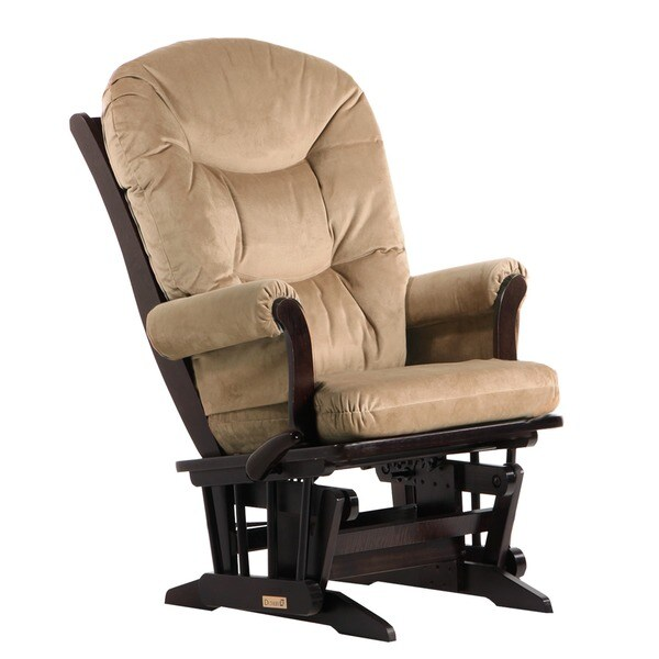 Dutailier Espresso Wood Glider with Padded Arms
