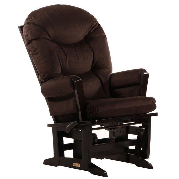 Dutailier Espresso Wood Glider with Brown Cushions
