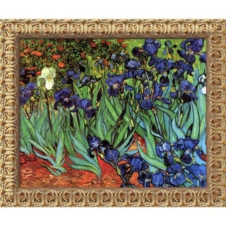 Vincent van Gogh 'Irises In The Garden' Framed Art Canvas