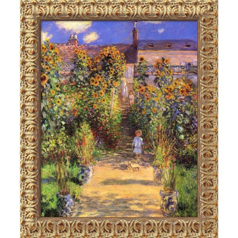 Claude Monet 'The Artist's Garden at Vetheuil, 1880' Framed Art Canvas
