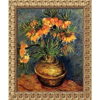 Vincent van Gogh 'Crown Imperial Fritillaries in a Copper Vase, 1886' Framed Art Canvas