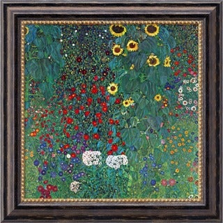 Gustav Klimt 'Farm Garden with Sunflowers, c. 1906' Framed Art Canvas