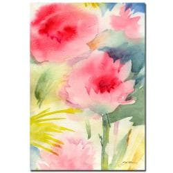 Sheila Golden 'Pink Flowers - watercolor' Gallery-wrapped Canvas Art