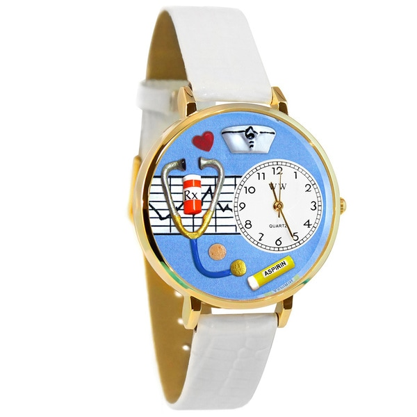 Whimsical Women's Nurse Theme White Leather Watch