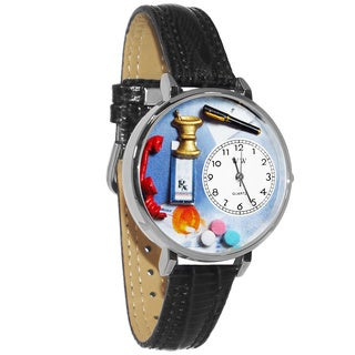 Whimsical Women's Pharmacy Theme Black Leather Watch