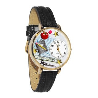 Whimsical Women's Teacher Theme Black Skin Leather Quartz Watch