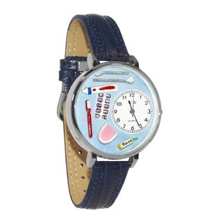 Whimsical Women's Dentist-Theme Navy Blue Silvertone Leather Watch