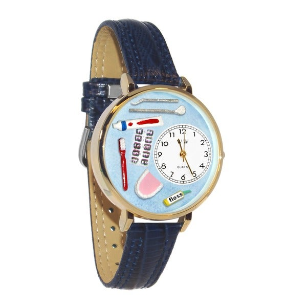 Whimsical Women's Dentist Theme Navy Blue Leather Watch