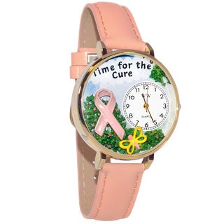 Whimsical Women's 'Time for the Cure' Pink Leather Watch