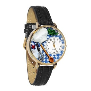 Whimsical Women's Chef-theme Black Leather Watch