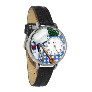 Whimsical Women's Chef Theme Black Leather Watch