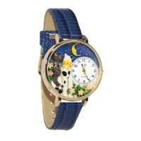 Whimsical Women's 'Cats Night Out' Theme Royal Blue Japanese Quartz Leather Watch