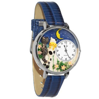 Whimsical Women's 'Cats Night Out' Theme Royal Blue Leather Watch