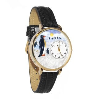 Whimsical Women's Penguin Theme Black Leather Strap Watch