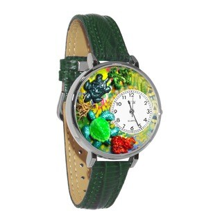 Whimsical Women's Turtle Theme Hunter Green Leather Watch