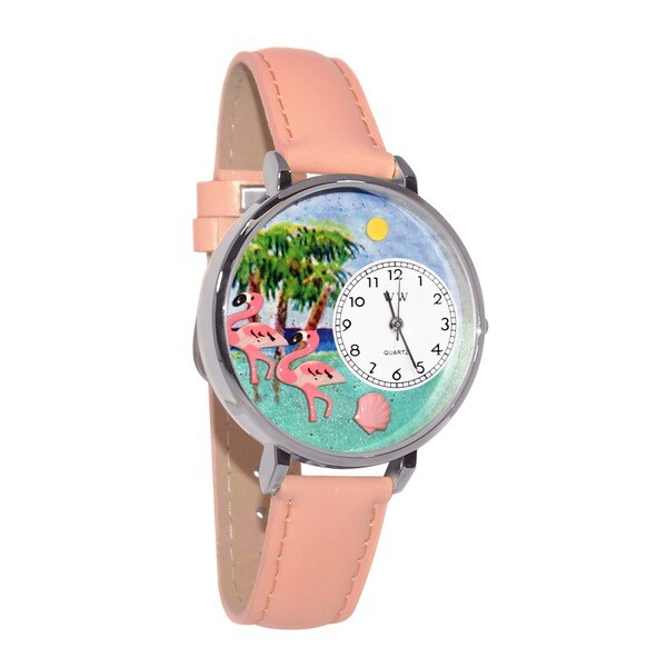 Whimsical Flamingo Theme Pink Leather Watch