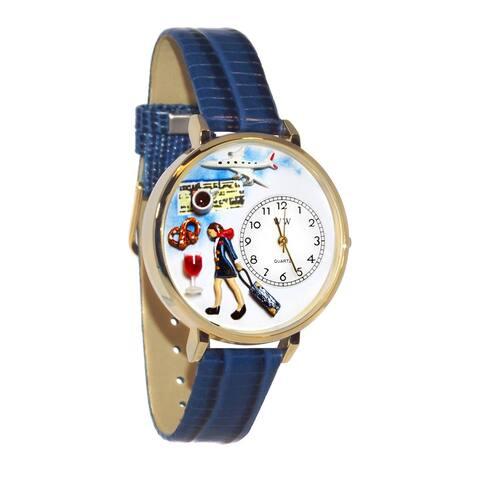 Whimsical Women's Flight Attendant Theme Goldtone Royal-Blue Leather Watch