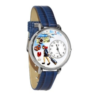 Whimsical Women's Flight Attendant Theme Royal Blue Leather Watch