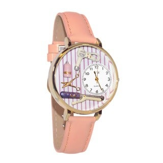 Whimsical Women's Beautician-Theme Pink Leather Stainless-Steel Watch