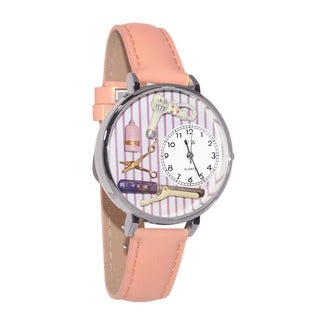 Whimsical Women's Beautician Theme Pink Leather Watch