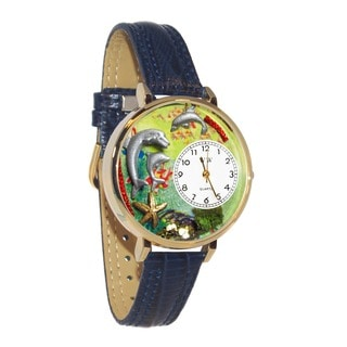 Whimsical Women's Dolphin Theme Goldtone Navy-Blue Leather Watch