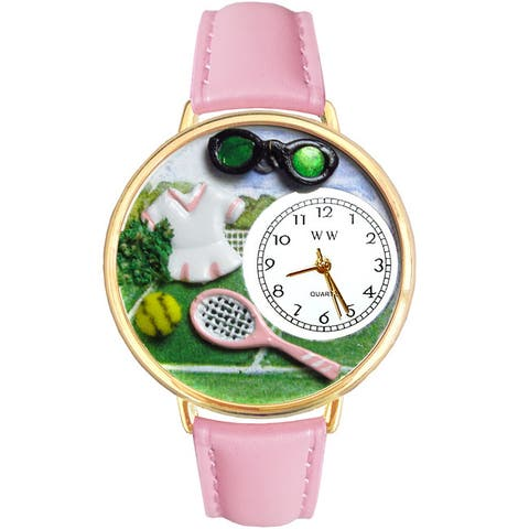 Whimsical Women's Goldtone Tennis-Theme Pink Leather Watch