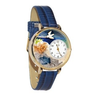 Whimsical Women's 'Footprints' Theme Royal Blue Leather Quartz Watch