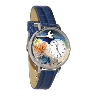 Whimsical Women's 'Footprints' Theme Royal Blue Leather Watch