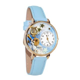Whimsical Women's Angel-Harp-Theme Baby-Blue Leather-Strap Watch