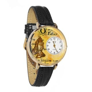 Whimsical Women's Glodtone 'Lord's Prayer' Black Skin Leather Watch